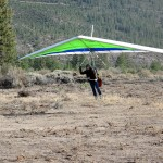 First hang glider flight at Whaleback in at least 5 years, made possible by the newly enlarged LZ, Oct. 11, 2009. The roots are all removed now.