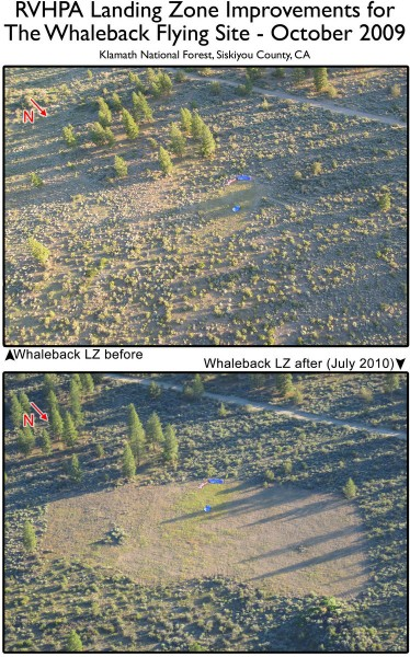 Before and after images of LZ improvements at The Whaleback. Work completed in October 2009.